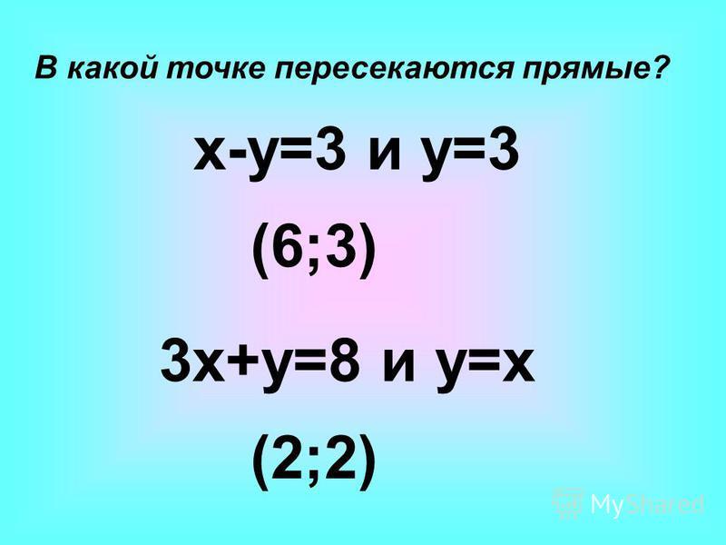 В какой точке пересекаются прямые? x-y=3 и y=3 3x+y=8 и y=x (6;3) (2;2)