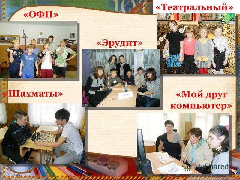 «ОФП» «Шахматы» «Театральный» «Мой друг компьютер» «Эрудит»