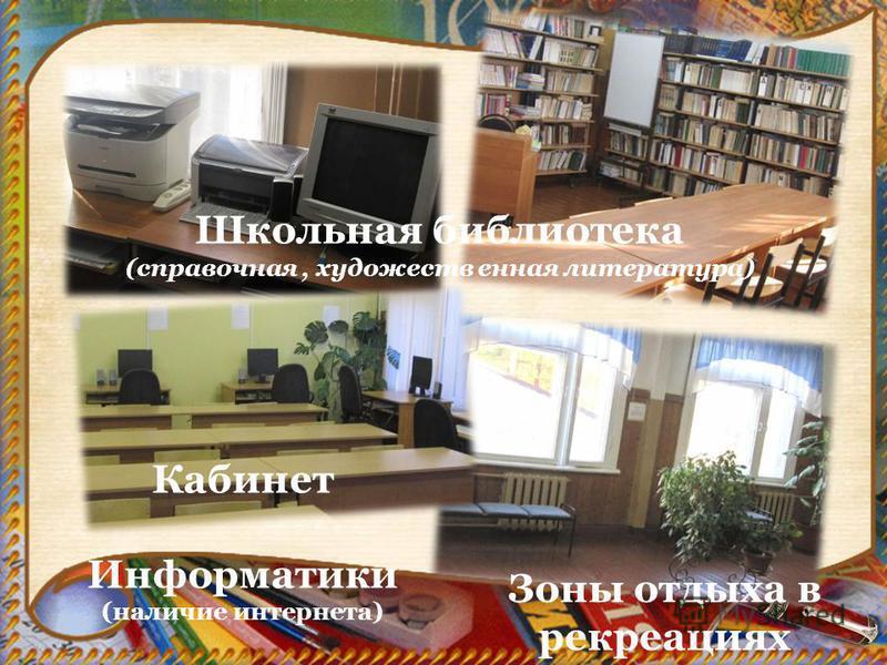 Кабинет Информатики (наличие интернета) Школьная библиотека (справочная, художественная литература) Зоны отдыха в рекреациях