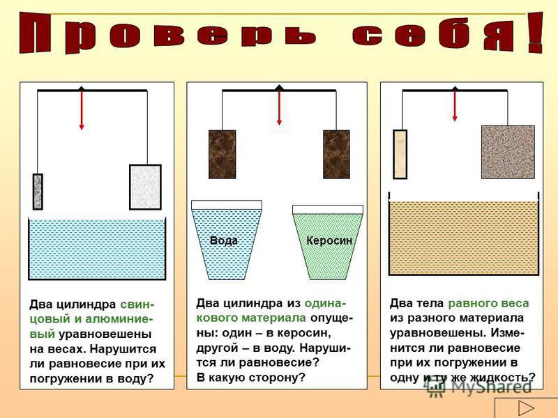 Два цилиндра свинцовый и алюминиевый уравновешены на весах. Нарушится ли равновесие при их погружении в воду? Вода Керосин Два цилиндра из одинакового материала опущены: один – в керосин, другой – в воду. Наруши- тся ли равновесие? В какую сторону? Д