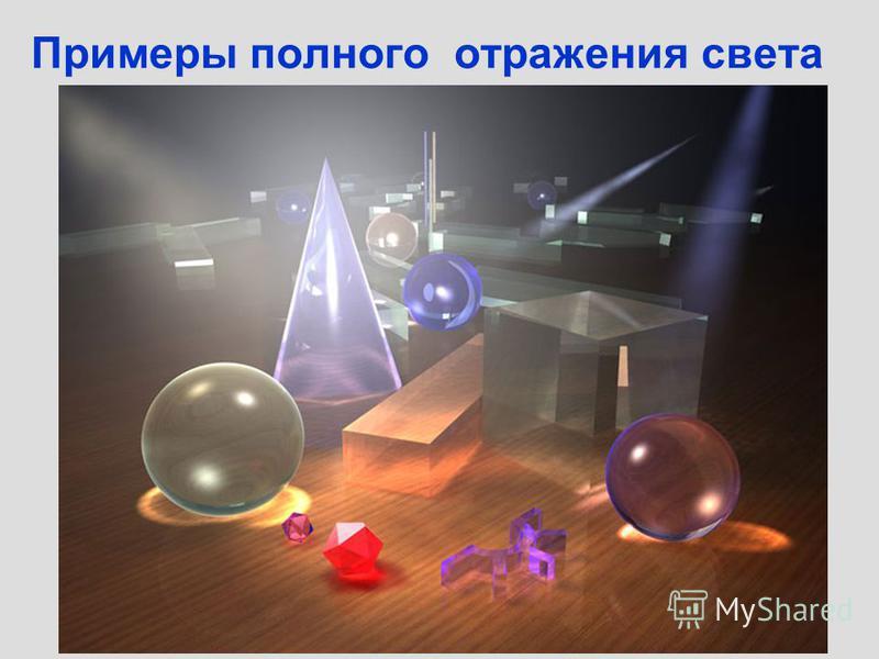 Примеры полного отражения света