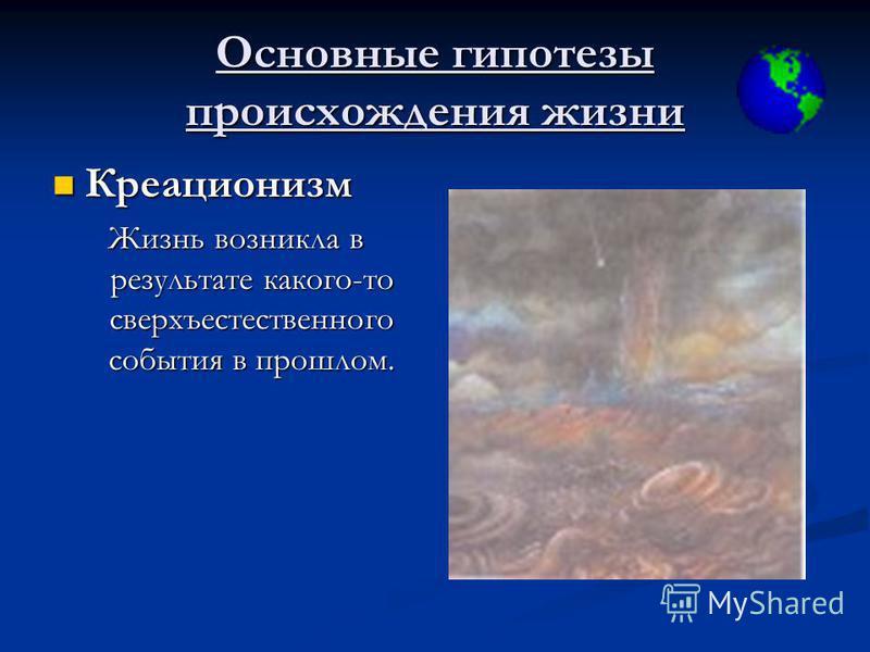 Основные гипотезы происхождения жизни Креационизм Креационизм Жизнь возникла в результате какого-то сверхъестественного события в прошлом.