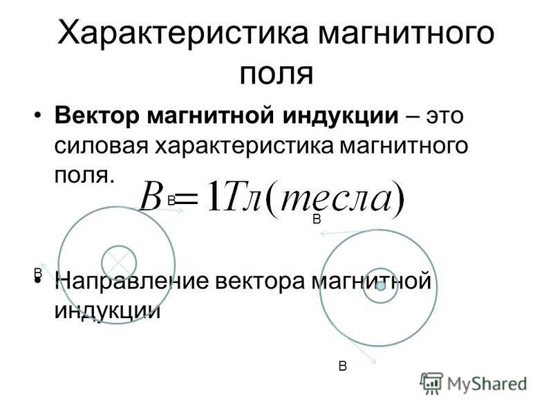 Характеристика магнитного поля Вектор магнитной индукции – это силовая характеристика магнитного поля. Направление вектора магнитной индукции В В В В
