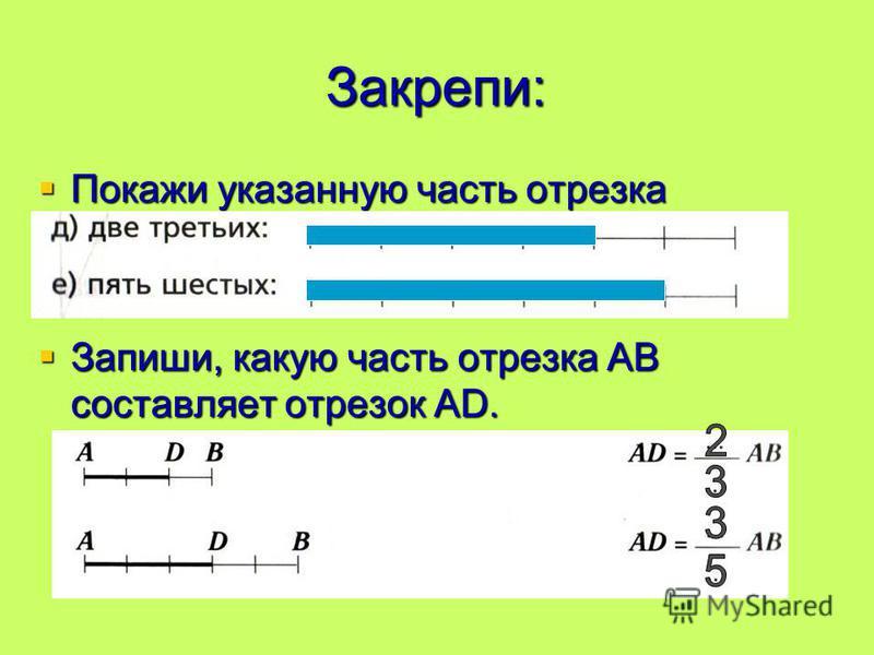 Закрепи: Покажи указанную часть отрезка Покажи указанную часть отрезка Запиши, какую часть отрезка АВ составляет отрезок АD. Запиши, какую часть отрезка АВ составляет отрезок АD.