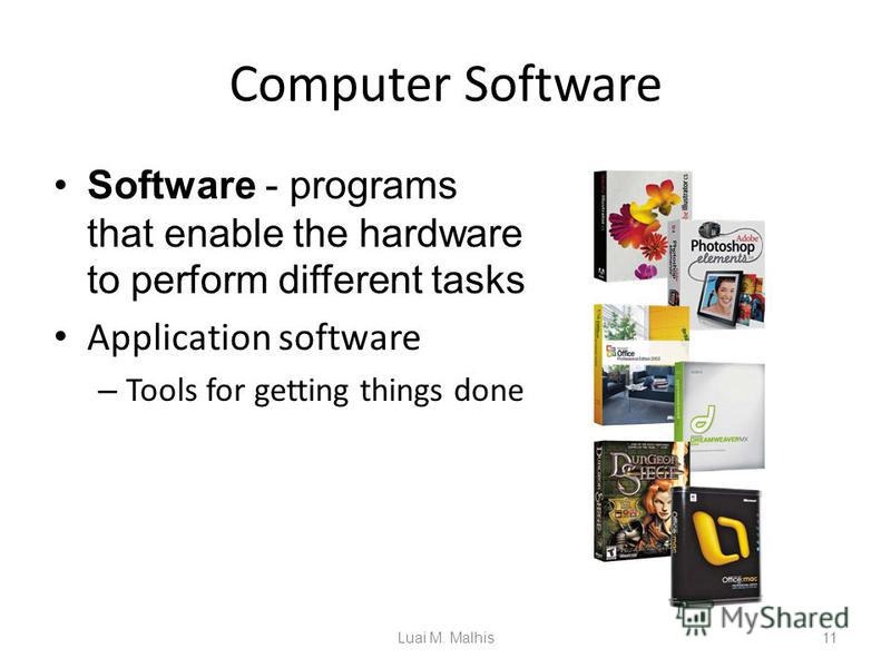 Computer Software Software - programs that enable the hardware to perform different tasks Application software – Tools for getting things done 11Luai M. Malhis