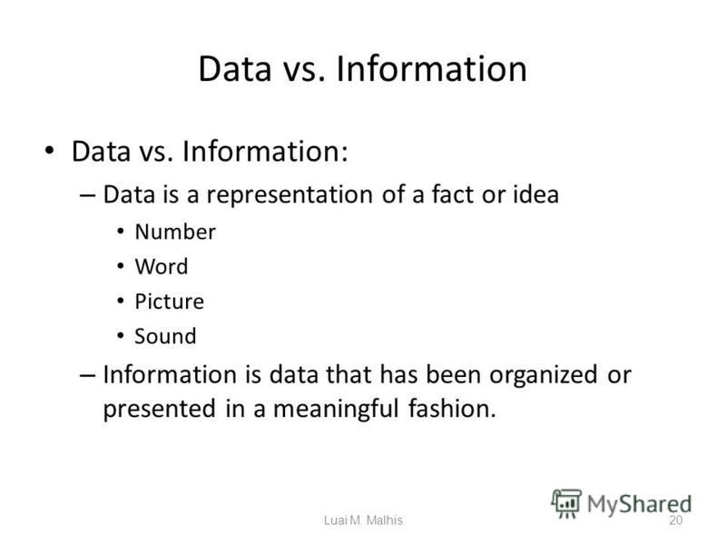 Data vs. Information Data vs. Information: – Data is a representation of a fact or idea Number Word Picture Sound – Information is data that has been organized or presented in a meaningful fashion. 20Luai M. Malhis