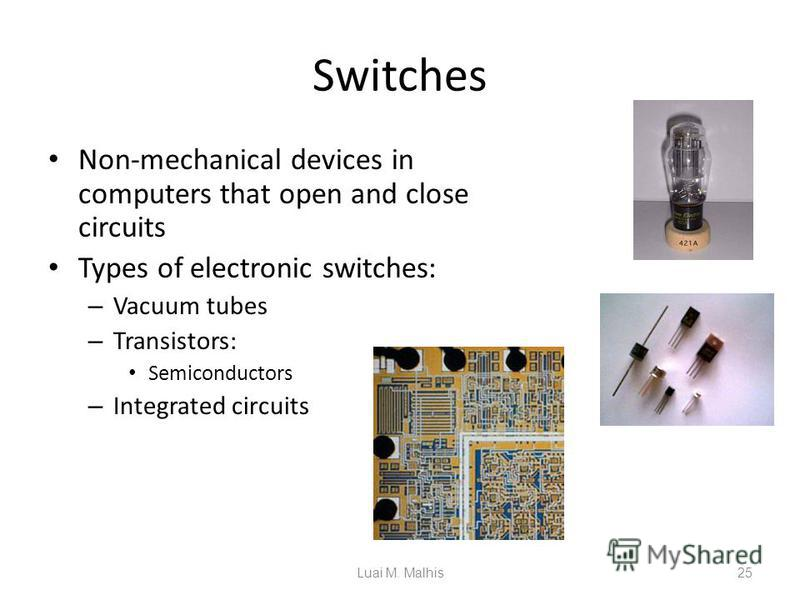 Switches Non-mechanical devices in computers that open and close circuits Types of electronic switches: – Vacuum tubes – Transistors: Semiconductors – Integrated circuits Vacuum Tube Transistors Integrated Circuits 25Luai M. Malhis