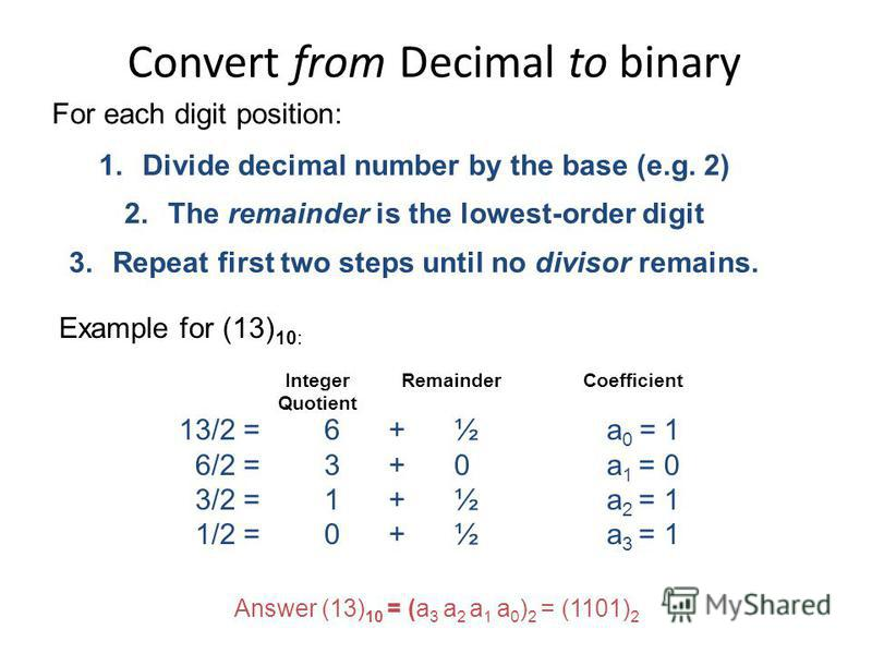 Convert from Decimal to binary 1.Divide decimal number by the base (e.g. 2) 2.The remainder is the lowest-order digit 3.Repeat first two steps until no divisor remains. For each digit position: Example for (13) 10: Integer Quotient 13/2 = 6 + ½ a 0 =