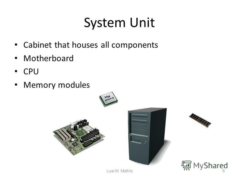 System Unit Cabinet that houses all components Motherboard CPU Memory modules 6 System Unit CPU Motherboard Memory Module Luai M. Malhis