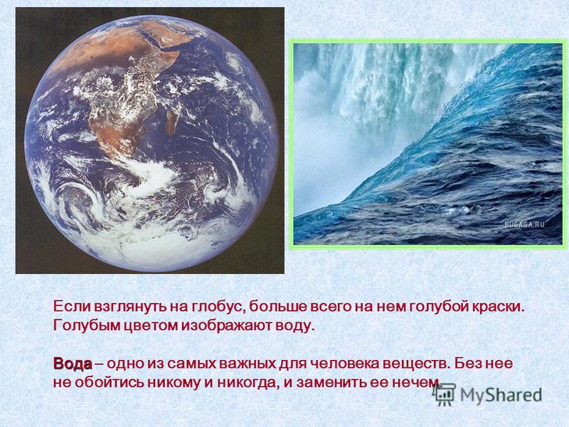 Если взглянуть на глобус, больше всего на нем голубой краски. Голубым цветом изображают воду. Вода Вода – одно из самых важных для человека веществ. Без нее не обойтись никому и никогда, и заменить ее нечем.