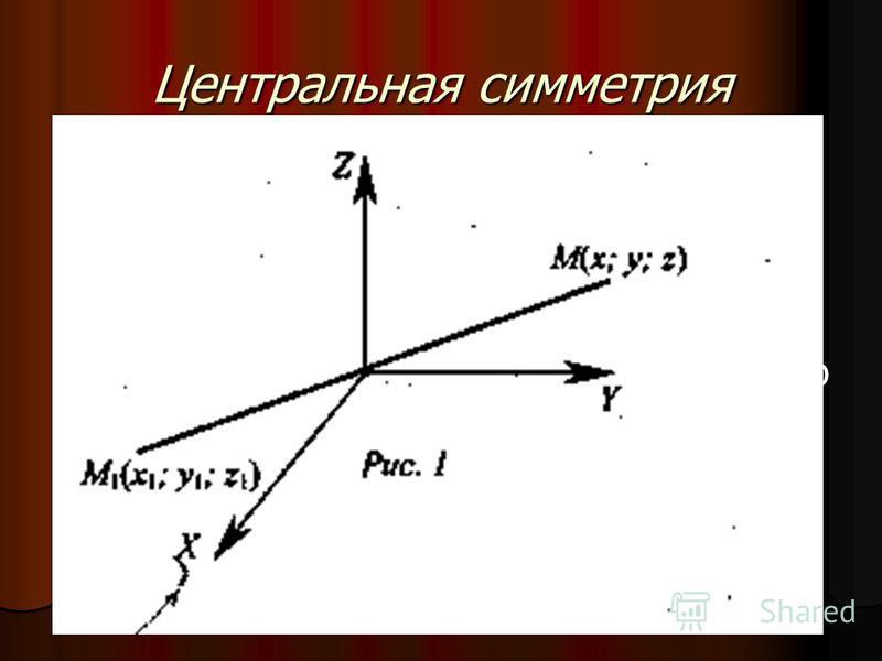 Центральная симметрия 1. Примером движения может служить центральная симметрия - отображения пространства на себя, при котором любая точка М переходит в симметричную ей точку А 1 относительно данного центра О. 1. Примером движения может служить центр
