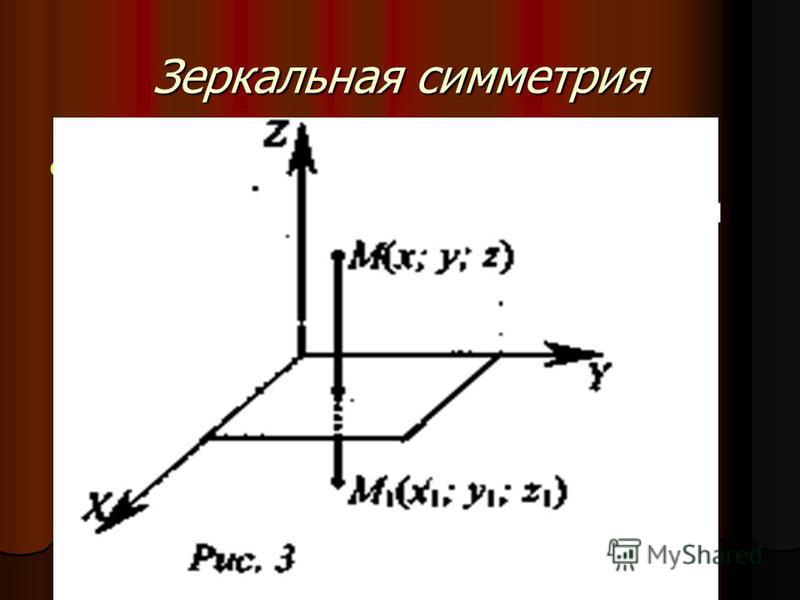 Зеркальная симметрия Зеркальной симметрией (симметрией относительно плоскости а) называется такое отображение пространства на себя, при котором любая точка М переходит в симметричную ей относительно плоскости а точку М 1. Зеркальной симметрией (симме