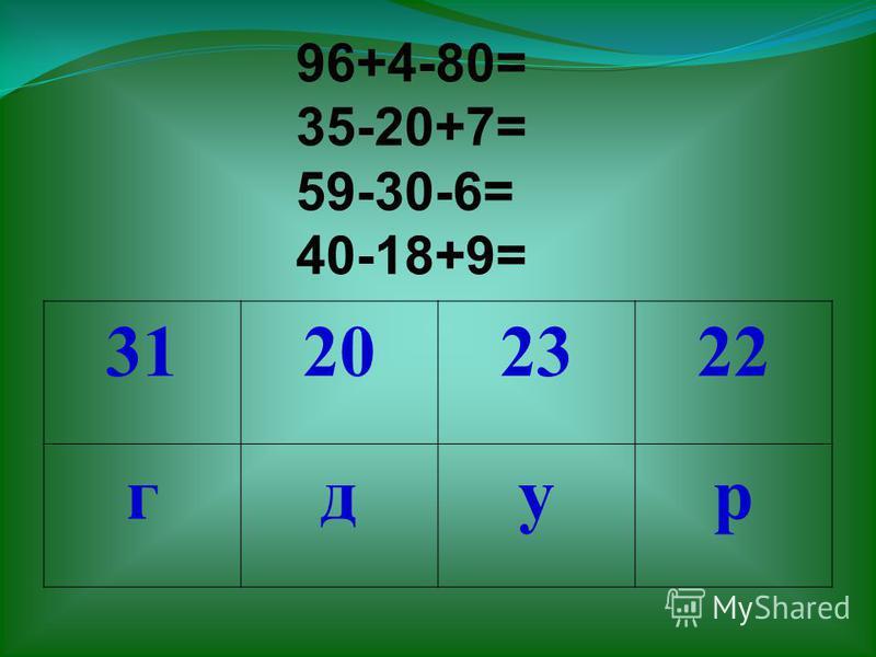 96+4-80= 35-20+7= 59-30-6= 40-18+9= 31202322 гдур