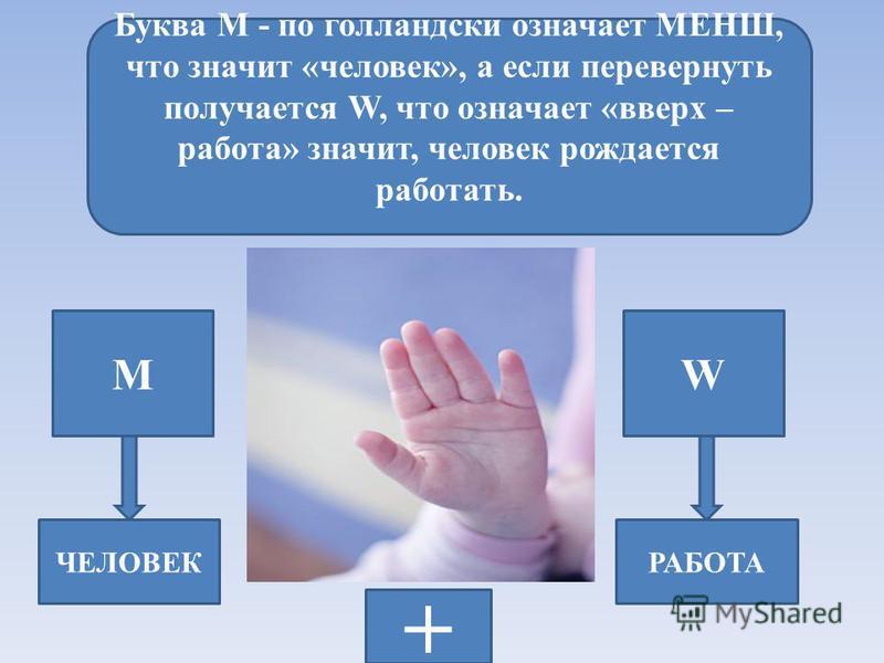 Буква М - по голландски означает МЕНШ, что значит «человек», а если перевернуть получается W, что означает «вверх – работа» значит, человек рождается работать. МW ЧЕЛОВЕКРАБОТА +