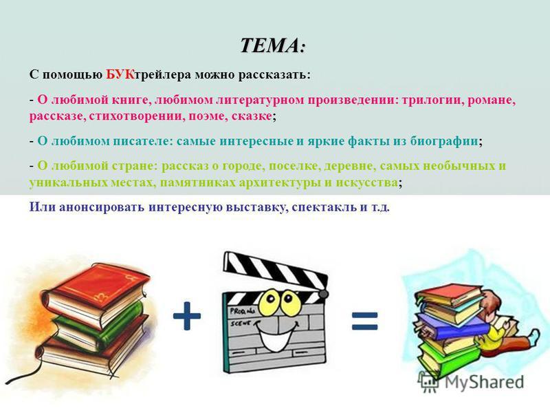 ТЕМА : С помощью БУКтрейлера можно рассказать: - О любимой книге, любимом литературном произведении: трилогии, романе, рассказе, стихотворении, поэме, сказке; - О любимом писателе: самые интересные и яркие факты из биографии; - О любимой стране: расс