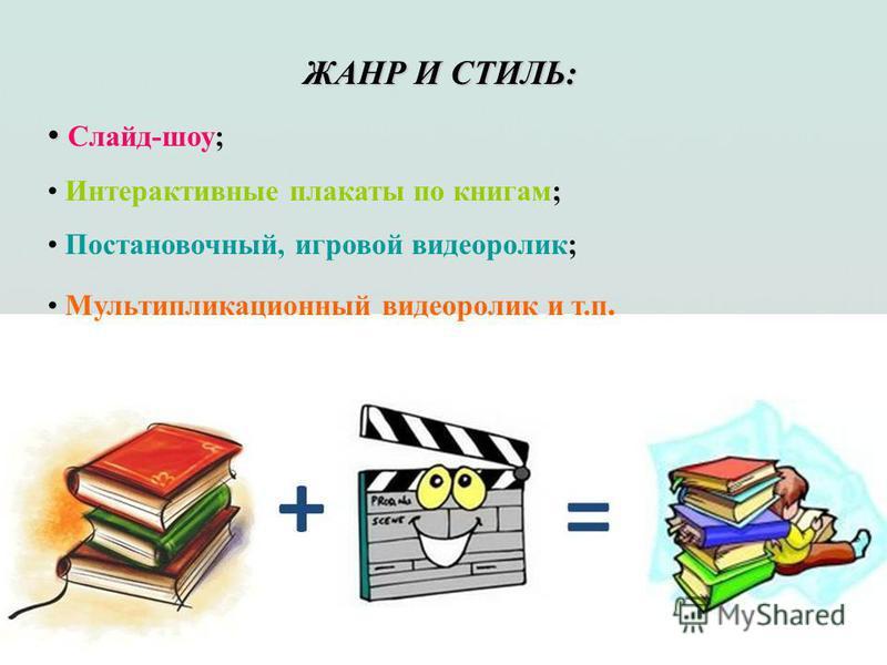 ЖАНР И СТИЛЬ: Слайд-шоу; Интерактивные плакаты по книгам; Постановочный, игровой видеоролик; Мультипликационный видеоролик и т.п.