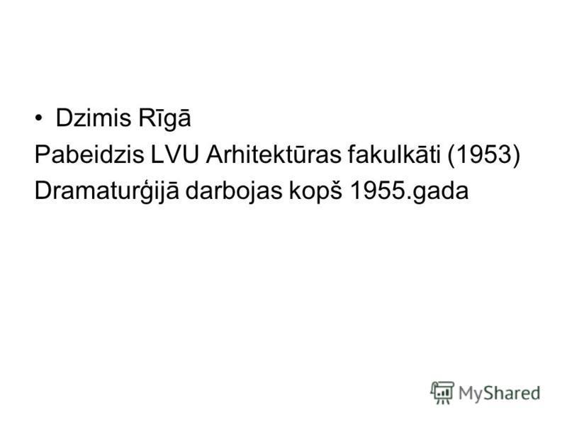Dzimis Rīgā Pabeidzis LVU Arhitektūras fakulkāti (1953) Dramaturģijā darbojas kopš 1955.gada