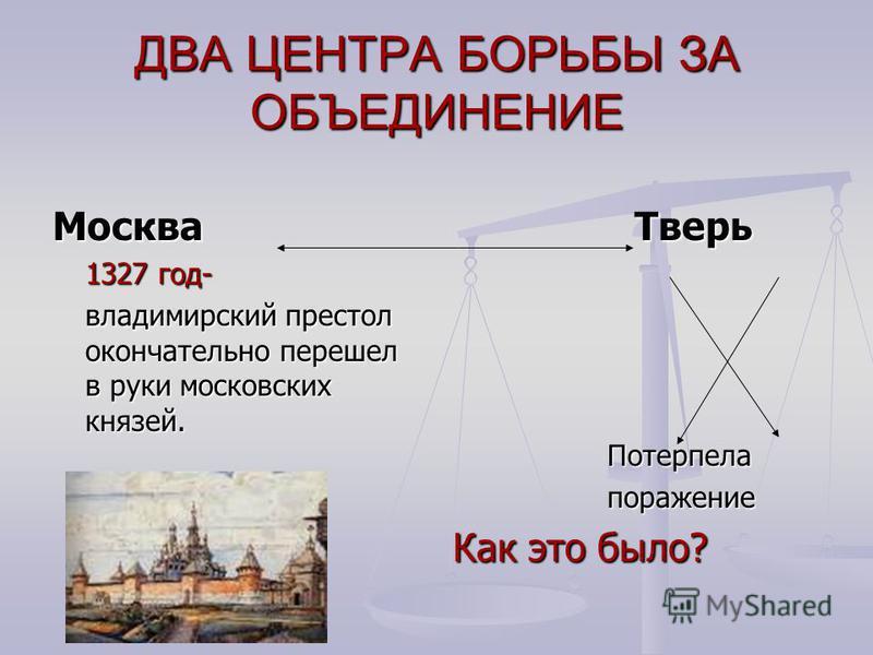 ДВА ЦЕНТРА БОРЬБЫ ЗА ОБЪЕДИНЕНИЕ Москва 1327 год- владимирский престол окончательно перешел в руки московских князей. Тверь Потерпела поражение Как это было?