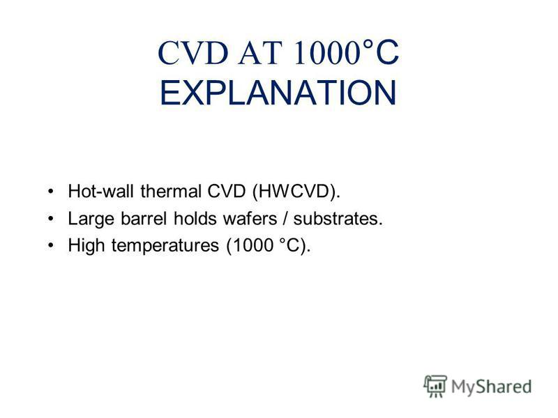 CVD AT 1000 °C EXPLANATION Hot-wall thermal CVD (HWCVD). Large barrel holds wafers / substrates. High temperatures (1000 °C).