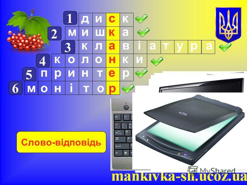 1 диск 2 мишка 3 клавіатура 4 колонки 5 принтер 6 монітор Слово-відповідь
