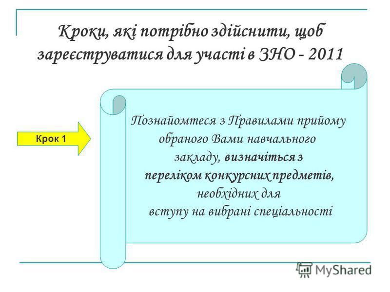 Кроки, які потрібно здійснити, щоб зареєструватися для участі в ЗНО - 2011 Крок 1 Познайомтеся з Правилами прийому обраного Вами навчального закладу, визначіться з переліком конкурсних предметів, необхідних для вступу на вибрані спеціальності