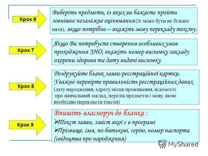Крок 6 Виберіть предмети, із яких ви бажаєте пройти зовнішнє незалежне оцінювання (їх може бути не більше пяти), якщо потрібно – вкажіть мову перекладу тексту. Крок 7 Якщо Ви потребуєте створення особливих умов проходження ЗНО, вкажіть номер висновку