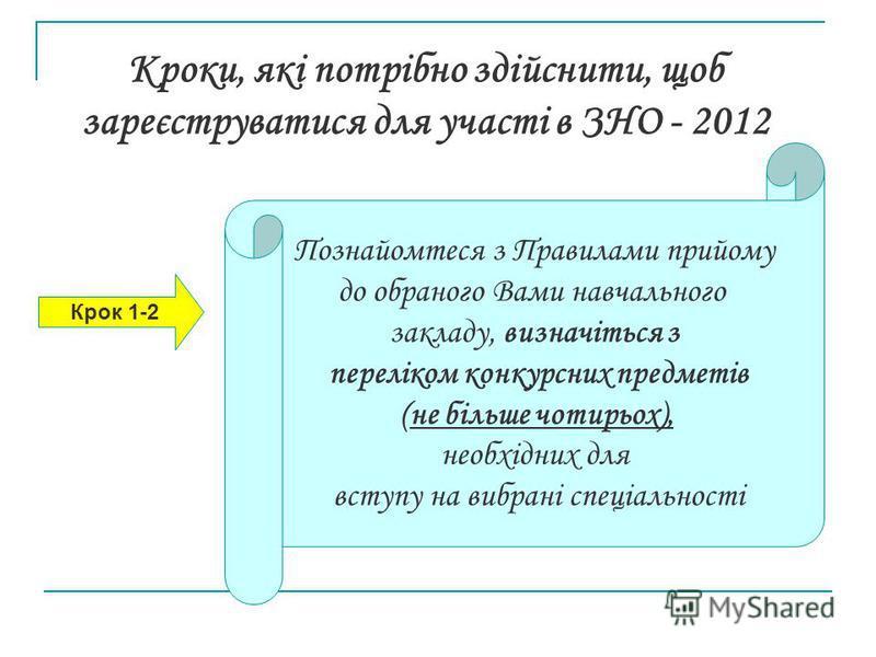 Кроки, які потрібно здійснити, щоб зареєструватися для участі в ЗНО - 2012 Крок 1-2 Познайомтеся з Правилами прийому до обраного Вами навчального закладу, визначіться з переліком конкурсних предметів (не більше чотирьох), необхідних для вступу на виб