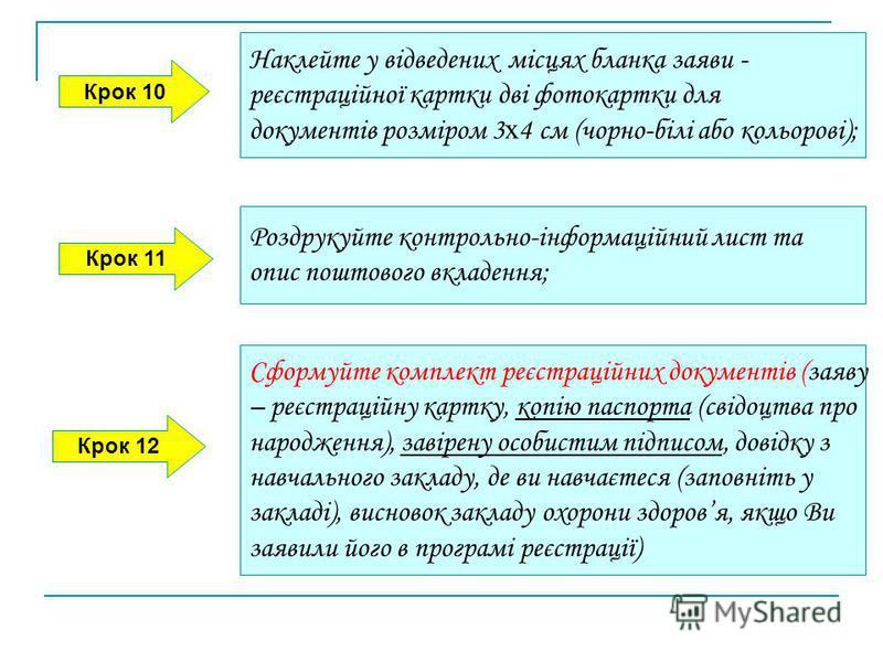 Крок 10 Крок 11 Крок 12 Наклейте у відведених місцях бланка заяви - реєстраційної картки дві фотокартки для документів розміром 3 х 4 см (чорно-білі або кольорові); Роздрукуйте контрольно-інформаційний лист та опис поштового вкладення; Сформуйте комп