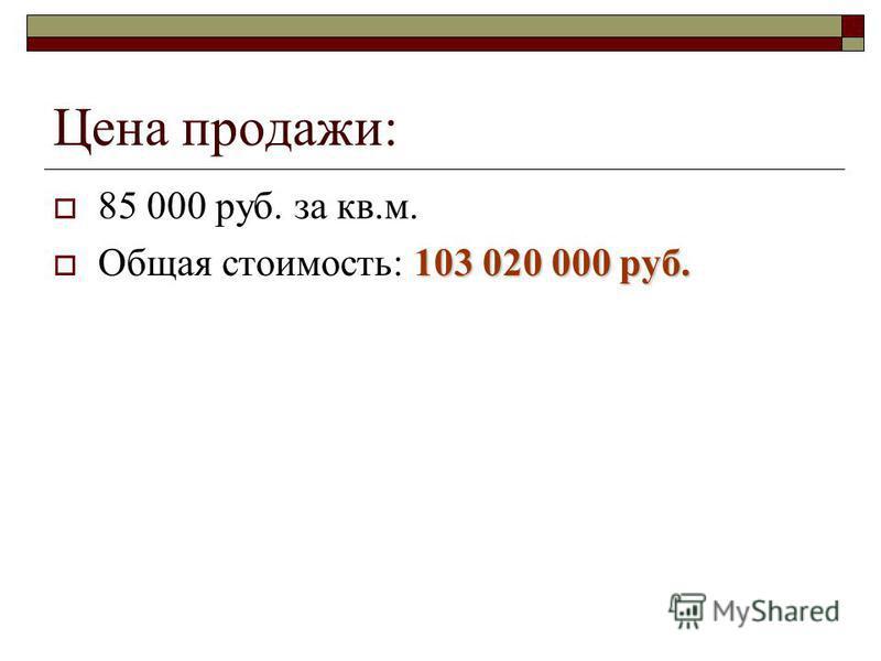 Цена продажи: 85 000 руб. за кв.м. 103 020 000 руб. Общая стоимость: 103 020 000 руб.