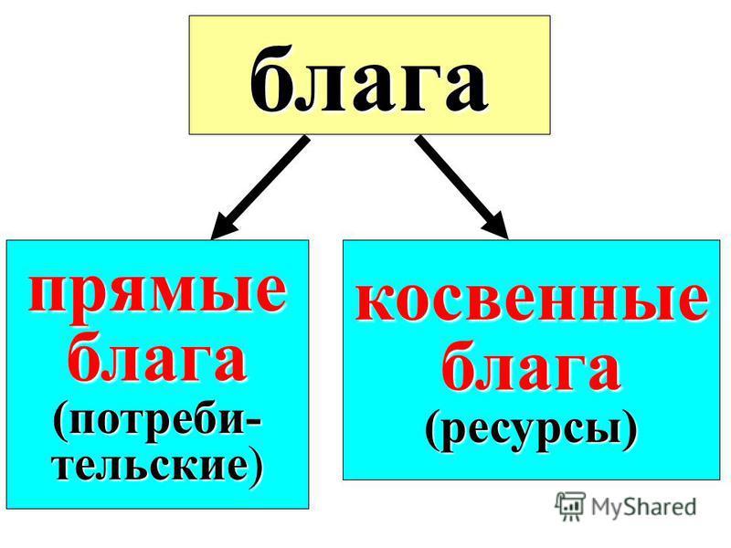 блага прямые блага(потребительские) косвенные блага(ресурсы)