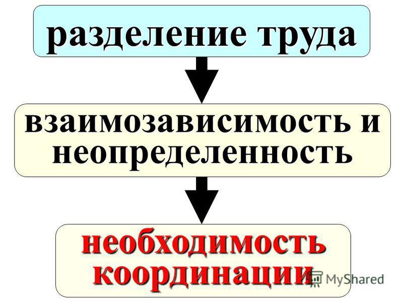 разделение труда взаимозависимость и неопределенность необходимость координации