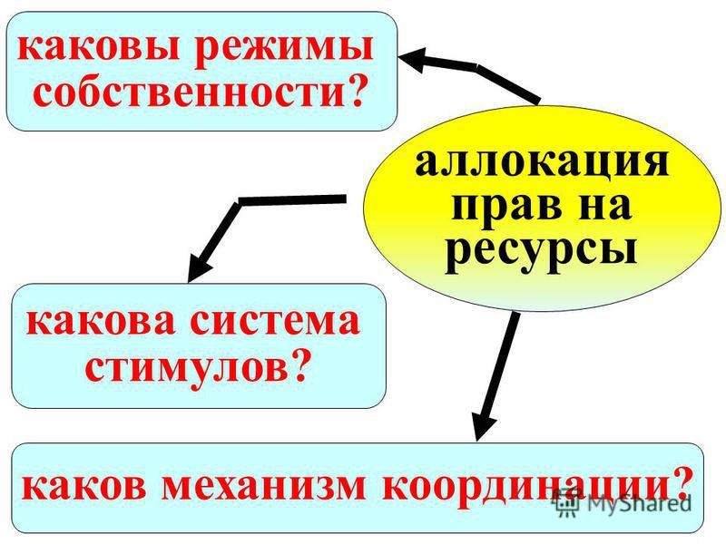 каковы режимы собственности? аллокация прав на ресурсы каков механизм координации? какова система стимулов?
