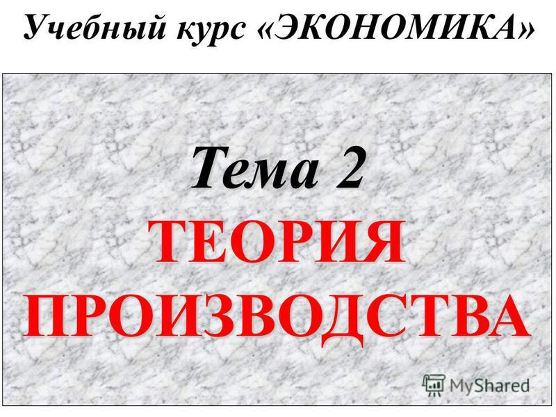 Учебный курс «ЭКОНОМИКА» Тема 2 ТЕОРИЯПРОИЗВОДСТВА