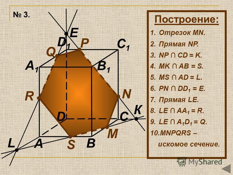 L N М P B A1A1 B1B1 C1C1 R Q A CD D1D1 S К E Построение: 1. Отрезок MN. 2. Прямая NР. 3. NP CD = K. 4. MK AB = S. 5. MS AD = L. 6. PN DD 1 = E. 7. Прямая LE. 8. LE AA 1 = R. 9. LE A 1 D 1 = Q. 10. MNРQRS – искомое сечение. 3.