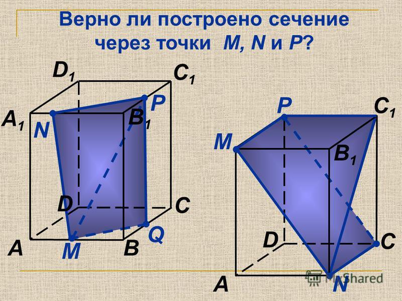 Верно ли построено сечение через точки M, N и P? М N Q AB C A1A1 C1C1 D1D1 D B1B1 P М NA C C1C1 D B1B1 P