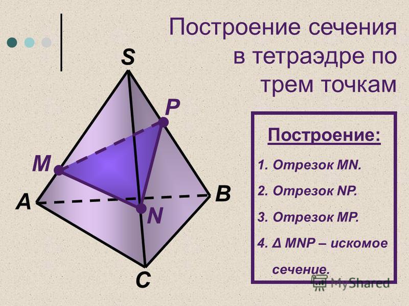 Построение сечения в тетраэдре по трем точкам C А M N P B S Построение: 1. Отрезок MN. 2. Отрезок NР. 3. Отрезок MР. 4.Δ MNР – искомое сечение.