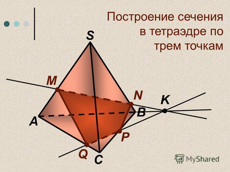 Построение сечения в тетраэдре по трем точкам C А S M N Q P K B