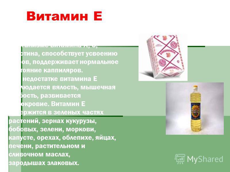 Витамин Е влияет на функцию эндокринных желез, замедляет разрушение в организме витамина А, С, каротина, способствует усвоению жиров, поддерживает нормальное состояние капилляров. При недостатке витамина Е наблюдается вялость, мышечная слабость, разв