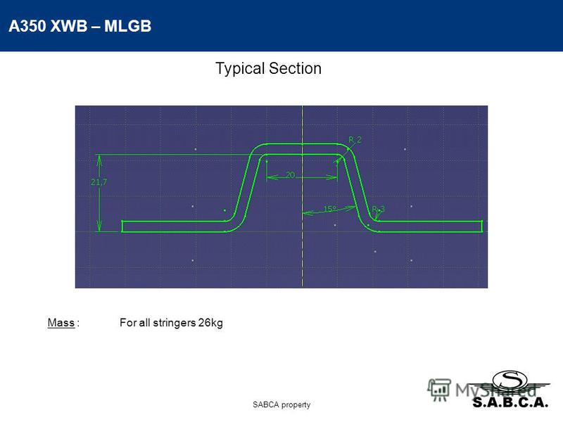 A350 XWB – MLGB SABCA property Typical Section Mass :For all stringers 26kg