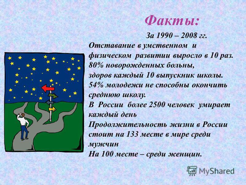 Факты: За 1990 – 2008 гг. Отставание в умственном и физическом развитии выросло в 10 раз. 80% новорожденных больны, здоров каждый 10 выпускник школы. 54% молодежи не способны окончить среднюю школу. В России более 2500 человек умирает каждый день Про