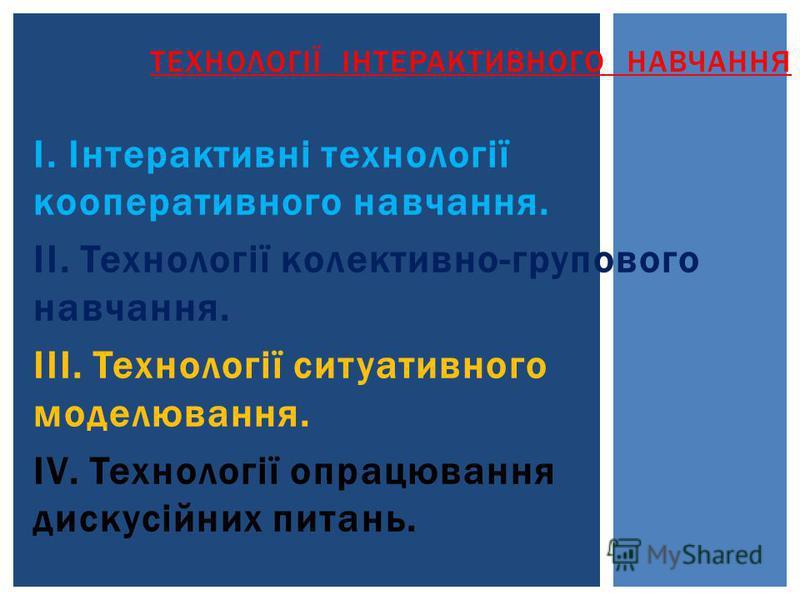 І. Інтерактивні технології кооперативного навчання. ІІ. Технології колективно-групового навчання. ІІІ. Технології ситуативного моделювання. ІV. Технології опрацювання дискусійних питань. ТЕХНОЛОГІЇ ІНТЕРАКТИВНОГО НАВЧАННЯ