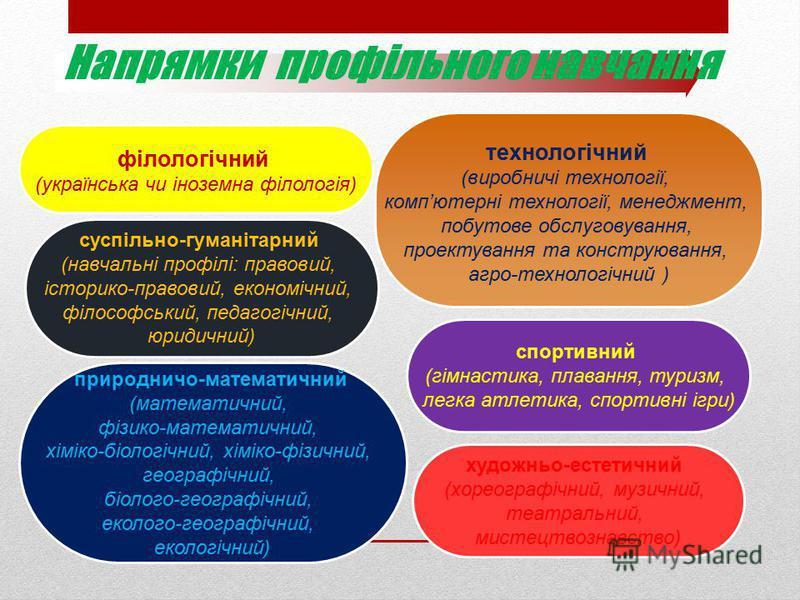природничо-математичний (математичний, фізико-математичний, хіміко-біологічний, хіміко-фізичний, географічний, біолого-географічний, еколого-географічний, екологічний) спортивний (гімнастика, плавання, туризм, легка атлетика, спортивні ігри) філологі