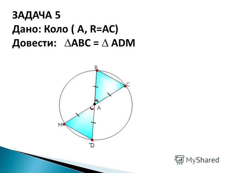 ЗАДАЧА 5 Дано: Коло ( А, R=АС) Довести: АВС = АDМ D