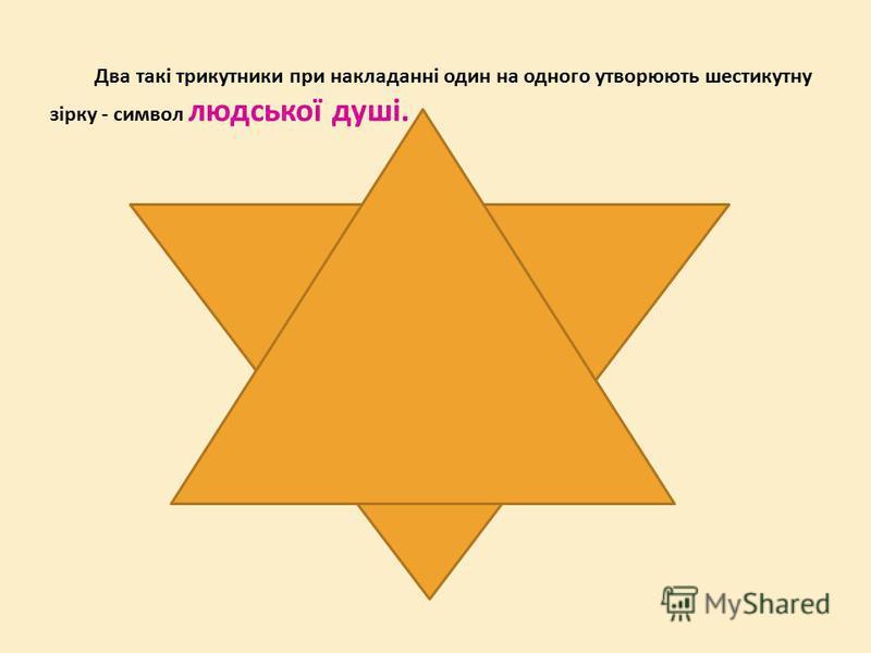 Два такі трикутники при накладанні один на одного утворюють шестикутну зірку - символ людської душі.