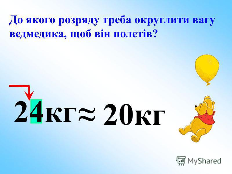 До якого розряду треба округлити вагу ведмедика, щоб він полетів? 20кг