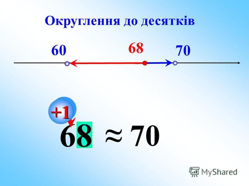 60 70 68 70 +1+1 Округлення до десятків