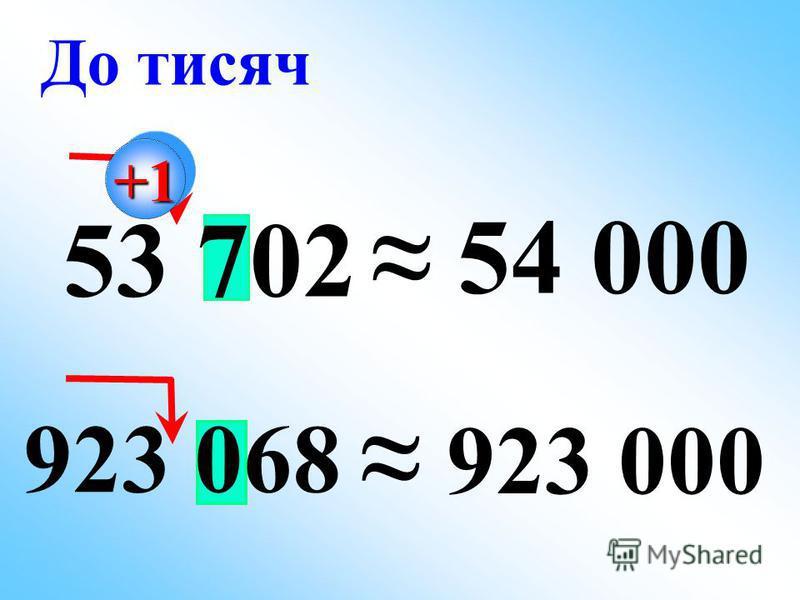 923 068 53 702 54 000 923 000 До тисяч +1+1