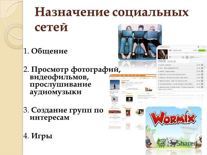 Назначение социальных сетей 1. Общение 2. Просмотр фотографий, видеофильмов, прослушивание аудио музыки 3. Создание групп по интересам 4. Игры