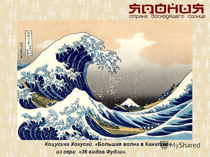 Коцусика Хокусай. «Большая волна в Канагаве» из сери «36 видов Фудзи».