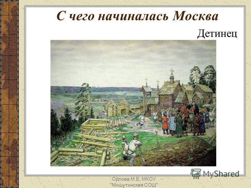 С чего начиналась Москва Детинец Орлова М.Е. МКОУ Мишутинская СОШ